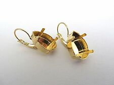 1 Pair Gold Plated Lever Back Earrings for 18mm Pear 4320