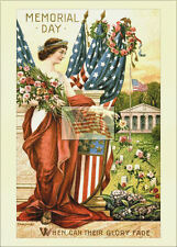 REPRINT PICTURE of old postcard MEMORIAL DAY 1906 USA flags flowers graves 5x7