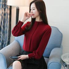 2018 Spring Women Sheer Chiffon Blouse Casual Long Sleeve Pleated Shirt Tops