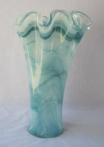 Genuine Italian Art Deco Glass Vase Mid Blue White Tammaro Italy Murano No 855
