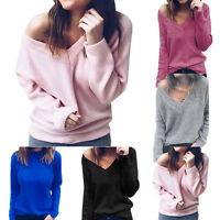 Women V Neck Knitted Jumper Long Sleeve Pullover Sweater Tops Blouse Plus Size