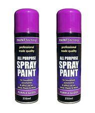 2x Multi-Purpose Purple Gloss Varnish Spray Paint DIY Van Car Metal Plastic Wood