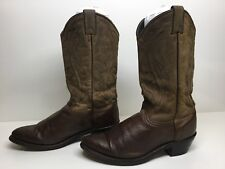 VTG WOMENS UNBRANDED COWBOY LEATHER BROWN BOOTS SIZE 8 M