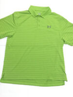 Under Armour Mens Size Large Heat Gear Loose Fit Green Striped Golf Polo Shirt