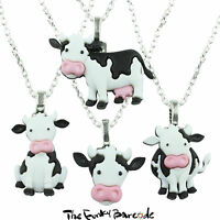 TFB - CRAZY COWS PENDANT NECKLACE Novelty Quirky Farm Animal Funky Kitsch Cute