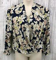 Nine West Womens Blouse Top Size Medium Cream Navy Floral Print LS Hi Low Hem