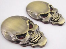 (2 Pack) 3D Metal Punisher Skull Emblem Sticker Motorcycle Badge Bronze