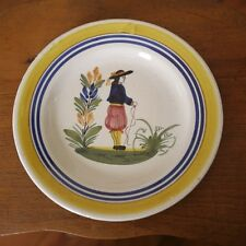 """Antique Henriot Quimper French Faience Pottery Breton Man Floral Small Plate 6"""""""