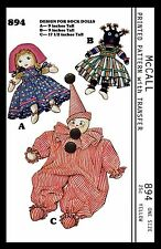 Vintage 40's Stuffed Sock DOLLS Toys Clown Craft Sewing Pattern McCall # 894