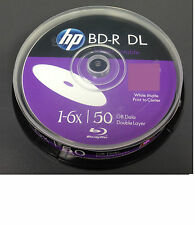 10x HP Blu Ray BD-R/BDR 3d DL 50gb 6x Dual Layer Stampabile A Getto D'Inchiostro Registrabile DVD