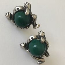 Vintage Frog Earrings Sterling Silver Green Stone Belly Screw Back Taxco Mexico