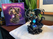 """Large 10"""" Black Gold Dragon Statue Guarding Treasure Chest That Lights Up +BOX"""