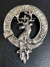 Crawford Motto  Scottish Clan Crest Badge Kilt Pin Stags Head Silver Tone