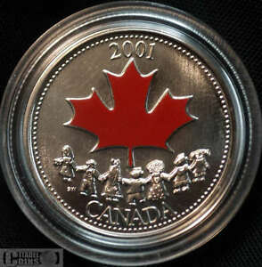 2001 Canada 25 Cents Spirit Coloured Canada Day