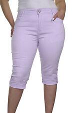 NEW (1442-3) Ladies Casual Plus Size Stretch 3/4 Length Jeans Light Purple 14-22
