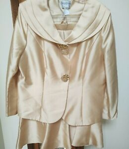 Tally Taylor 2 Piece Gold Skirt Jacket Suit Church Wedding Formal Event 18
