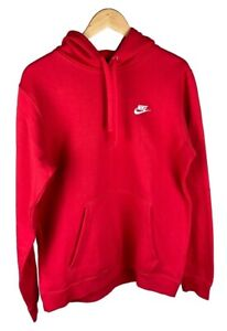 Nike Side Swoosh Embroidered Logo Pullover Sweatshirt Hoodie Red Medium