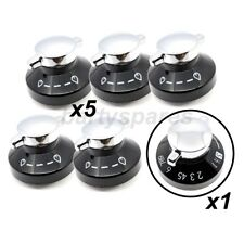 6 x GENUINE NEW WORLD Gas Oven Control Knob Hob Cooker Switch Silver Black