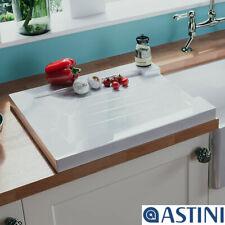 Astini Grooved Ceramic Gloss White Belfast Butler Kitchen Sink Worktop Drainer