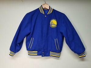 Golden state warriors kids m 7-8 reversible lettermans jacket blue/yellow