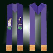 Catholic Church Clergy Stole Chasuble Priest Embroidered Stole Tassels Purple