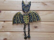 Funky Hanging Vampire Bat Gothic Dracula Great Painting Black Gold 35cm.....