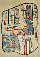 Egyptian Hand-painted Papyrus Artwork: Queen Nefertari Offering Nu Pots IMPORTED