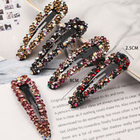 Women Rhinestone Crystal Geometric Hair Clip Clamps Hairpin Accessories Barrette