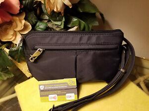 NEW Auth Travelon Black Anti-theft RFID Crossbody Belt Bag