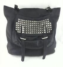 PUNK Purse Tote Black Leather/STUDS Shoulder Bag Vintage Rock n Roll/Biker RARE