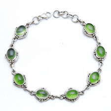 "Prehnite Gemstone 925 Sterling Silver Bracelet 8"" hand made natural stone"