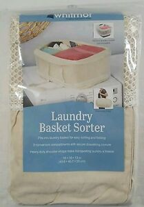 Laundry Basket  (Not Included) Sorter Canvas Organizer Carry Strap 3 Compartment