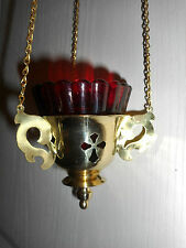 VEILLEUSE D'ICONE/ORTHODOXE/ verre ROUGE/LAMPE HUILE/A SUSPENDRE