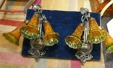 2 Meyda Tiffany Bronze 3 Arm Bulb Wall Light Sconces with Larger Lily Shades
