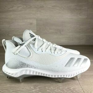 Adidas Icon V Bounce Men's Size 10 Metal Baseball Cleats White Silver G28269