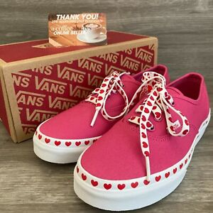 Vans Authentic Heart Foxing Pink Red White Size 7 Women's New With Box NWB
