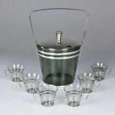 altes Bowle Set Silver Plate Glas 6 Personen +Extras 50er Jahre Art Deco vintage