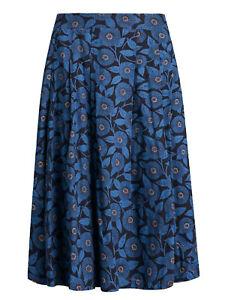 EX SEASALT Navy Printed Blooms Sea Mist Midi Skirt in Sizes 8-26 RRP £60