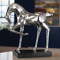 "MODERN URBAN DECOR XXL 19"" BRUSHED NICKEL TABLE TOP ART STATUE HORSE SCULPTURE"