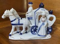 Vintage Horse Carriage Victorian Colonial Porcelain Figurine Cobalt Blue White
