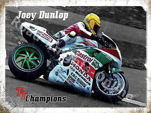 Joey Dunlop TT Champion Isle Of Man Race Honda Motorbike Small Metal Tin Sign