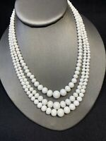 "Vintage 1950's White Milk Glass Beaded Graduated three strand  Necklace 17"""