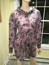 FREE PEOPLE Small GRAY FLORAL BLOUSON SHIRT MINI-DRESS Long-Sleeve Button-Down