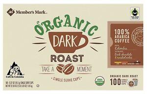 Member's Mark Organic Dark Roast Coffee, Single-Serve Cups (100 ct.) 37.03 oz