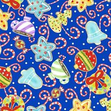 Jolly Holiday 2 Ornaments Royal Quilt Fabric - Free Shipping - 1 Yard