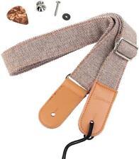 Hot Seal Linen Style Adjustable Genuine Uke Leather Metal Hook Ukulele Strap Str