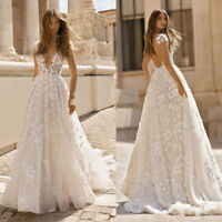 Sexy Deep V-neck Beach Wedding Dresses Lace Applique Backless Bridal Gown Custom