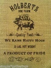 "Natural Burlap Bag Sack HOLBERTS HOG FARM Design in Black 12"" by 8"" Crafts"