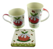 2 X BOXED GIFT MUGS NOVELTY CHRISTMAS ONE WITH COASTER ABIGAIL HILL