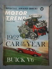 1962 FEBRUARY MOTOR TREND MAGAZINE BUICK V6 PLYMOUTH CHEVY FORD MOPAR